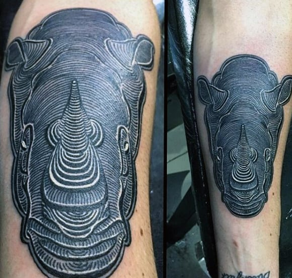 Mens Inner Forearm Rhino Tattoos