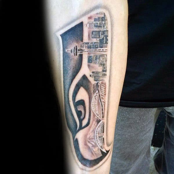 Mens Inner Forearm Seattle Skyline Seahawks Tattoo Ideas