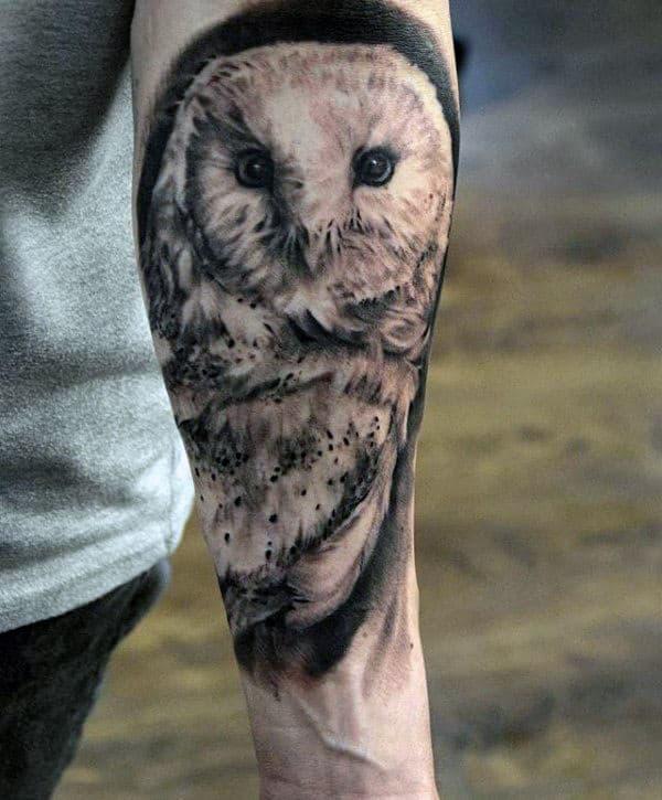 Mens Inner Forearm Shaded Black Ink Barn Owl Tattoo Designs