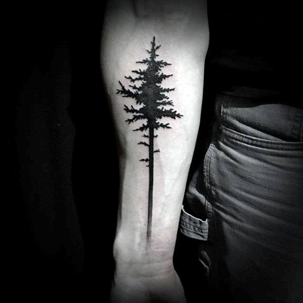 Mens Inner Forearm Simple Pine Tree Tattoo Ideas