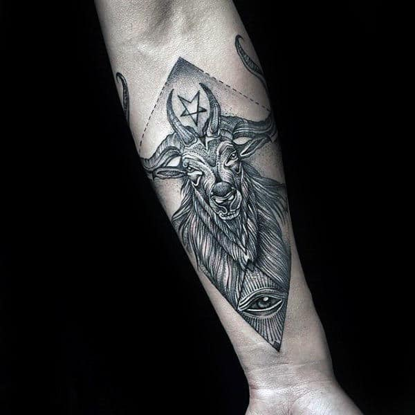 Mens Inner Forearm Tattoo Of Goat With All Seeing Eye Design