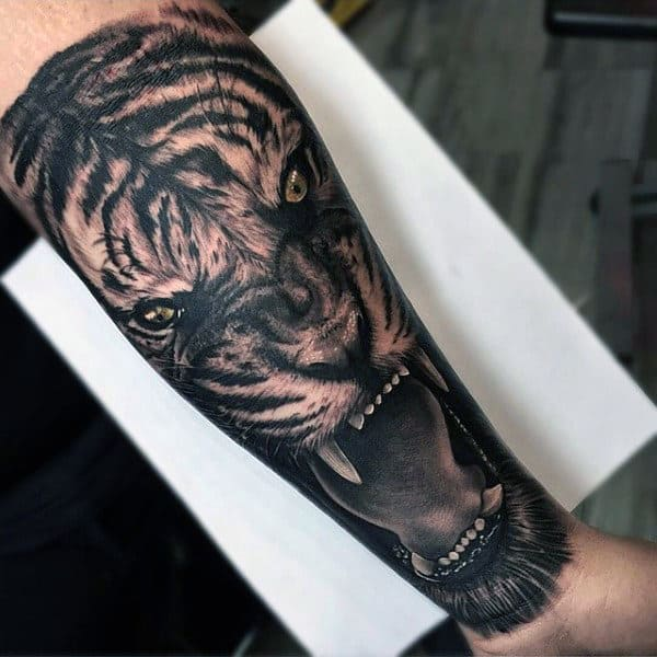 Mens Inner Forearm Tiger Tattoos