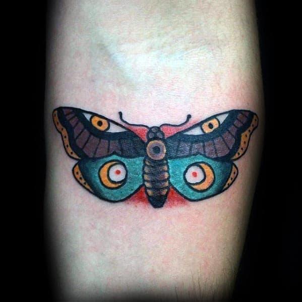 Mens Inner Forearm Traditional Moth Tattoos