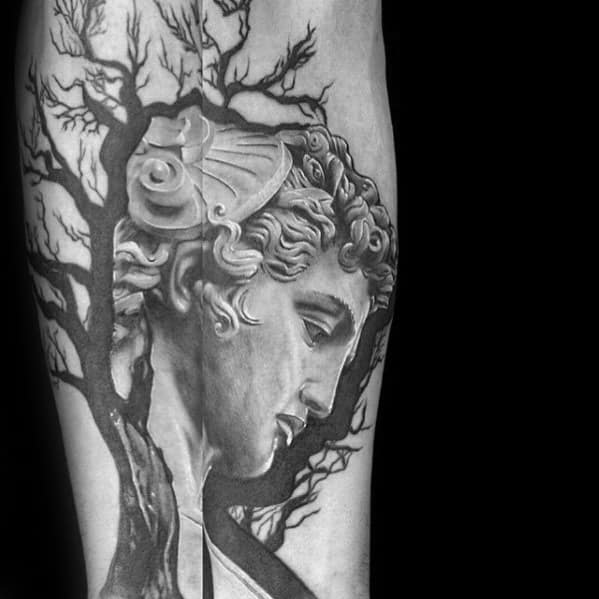 Mens Inner Forearm Tree With Perseus Tattoo Design Inspiration