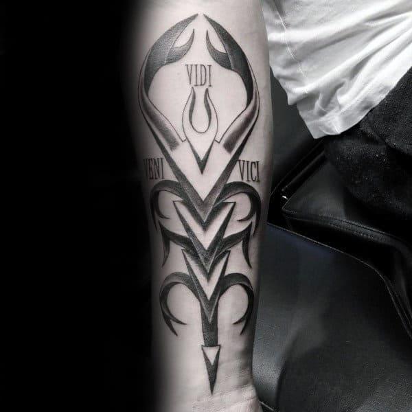 Mens Inner Forearm Veni Vidi Vici Scorpio Tattoo