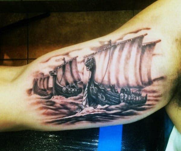 Ocean Ship Men's Inside Bicep Tattoo Ideas