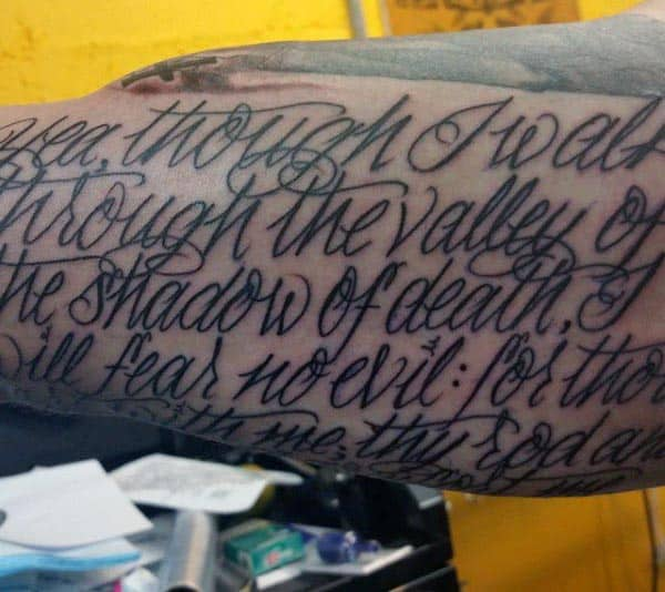 Mens Inside Bicep Tattoos Quote
