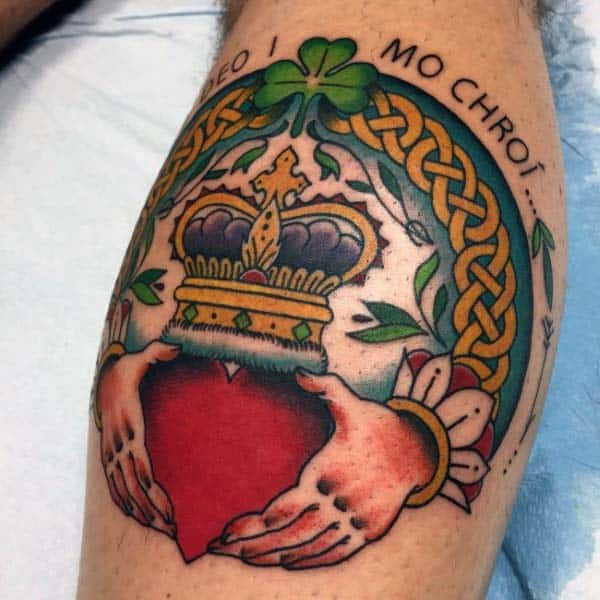 Mens Irish Claddagh Leg Calf Tattoo Designs