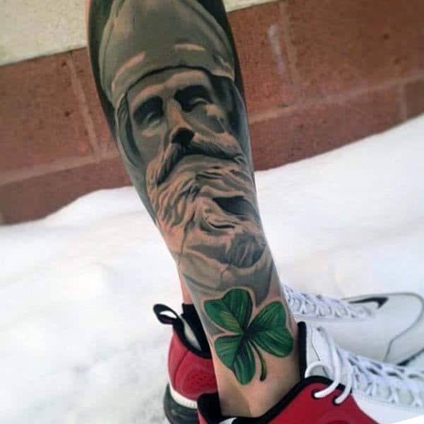 Mens Irish Saint Patrick Leg Sleeve Tattoos