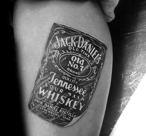 Mens Jack Daniels Bottle Label Mens Thigh Tattoos