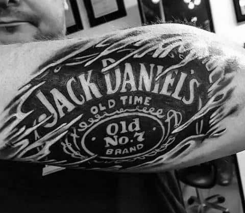 Mens Jack Daniels Ripped Skin Old Number Seven Brand Tattoo