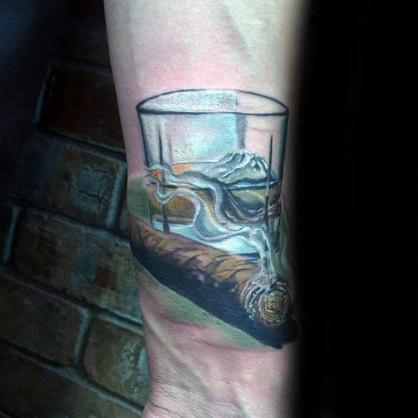 Mens Jack Daniels With Cigar Wirst Tattoos