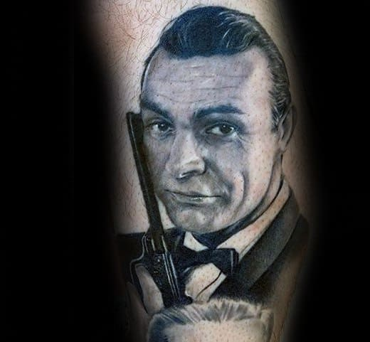 Mens James Bond Tattoo Arm Design Ideas
