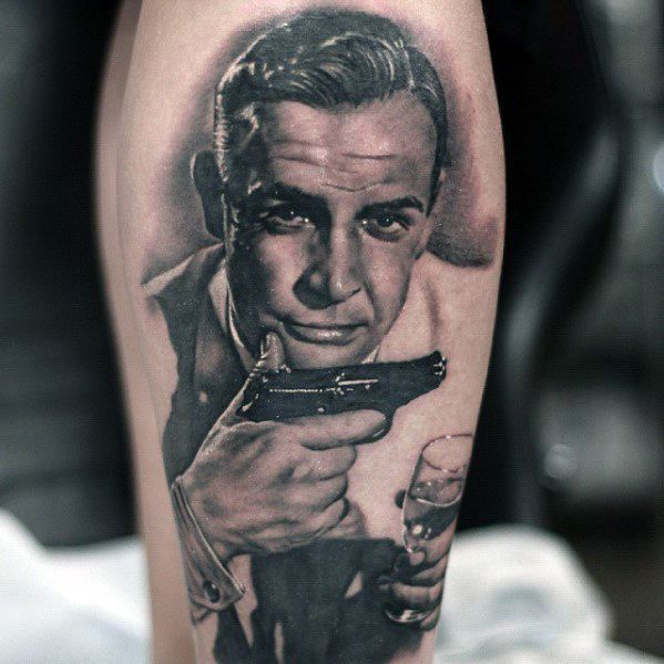 Mens James Bond Tattoo Leg Design Inspiration