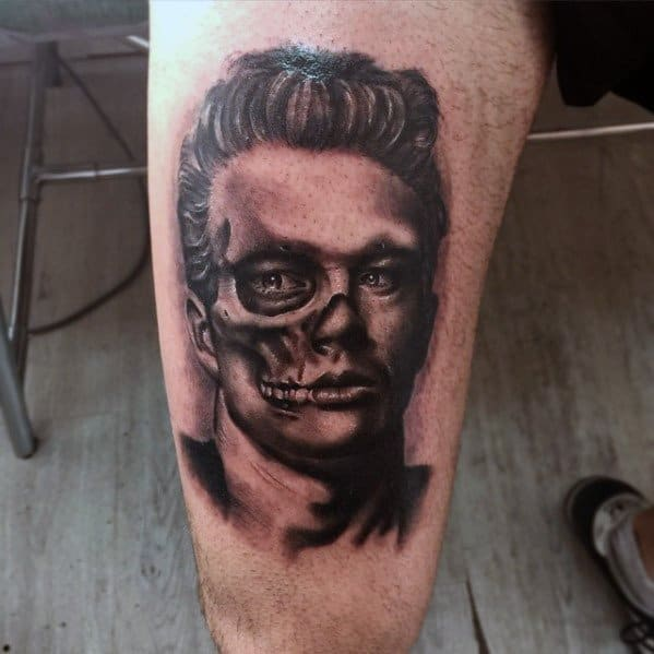 Mens James Dean Zombie Themed Portrait Tattoo Design Inspiration