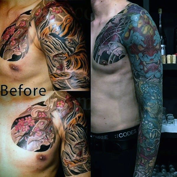 Mens Japanese Before And After Tattoo Cover Up Sleeve Ideas