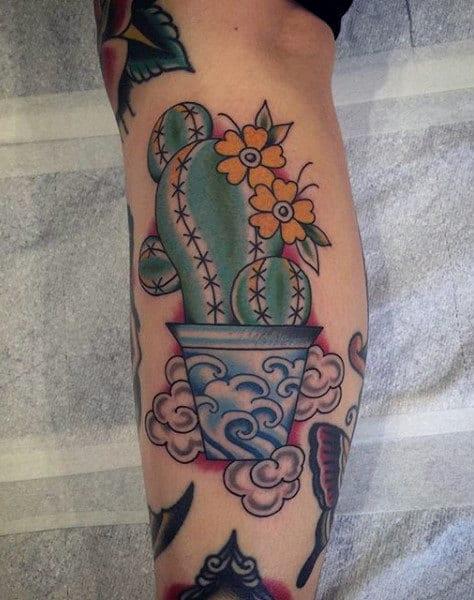 Mens Japanese Cactus Tattoo Design