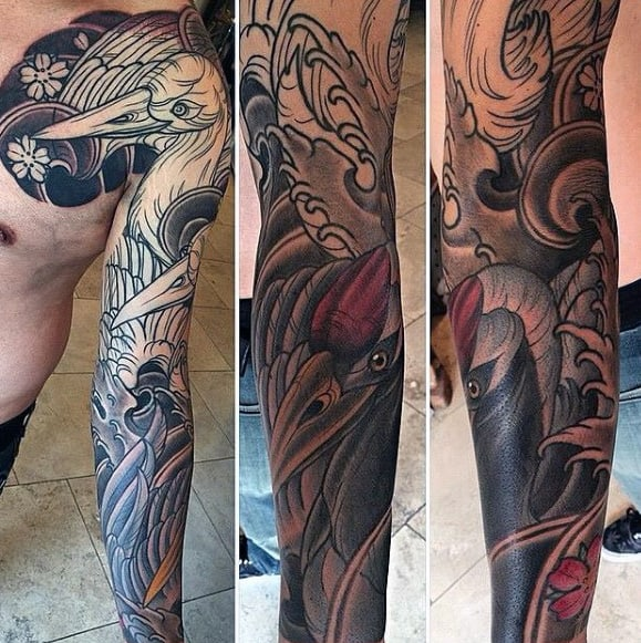 Mens Japanese Crane Full Arm Sleeve Tattoos