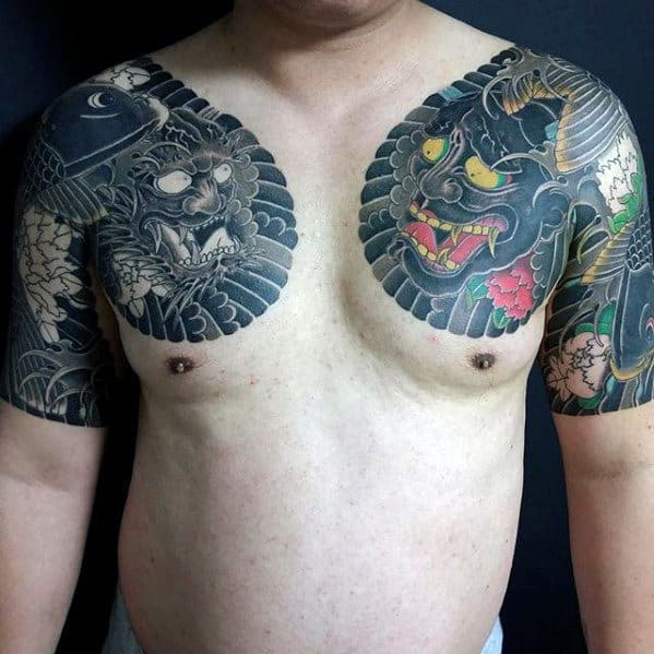 Mens Japanese Demons Upper Chest Tattoos