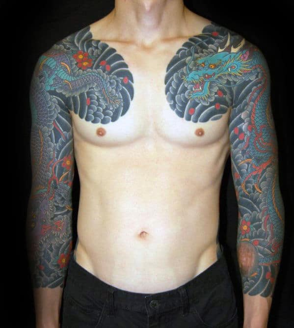 mens-japanese-dragon-in-clouds-sleeve-tattoo-ideas