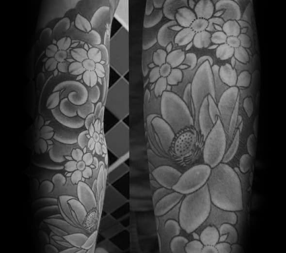 Mens Japanese Flower Half Sleeve Cherry Blossom Tattoo Design