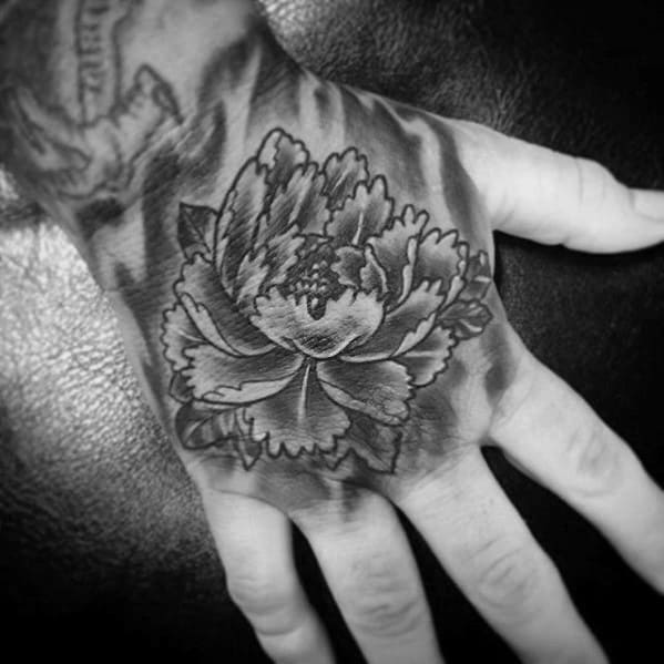 Mens Japanese Flower Hand Tattoos