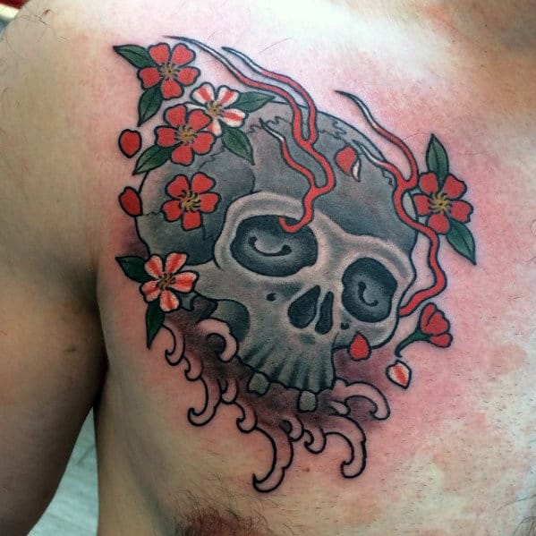 Mens Japanese Flower Skull Upper Chest Tattoo