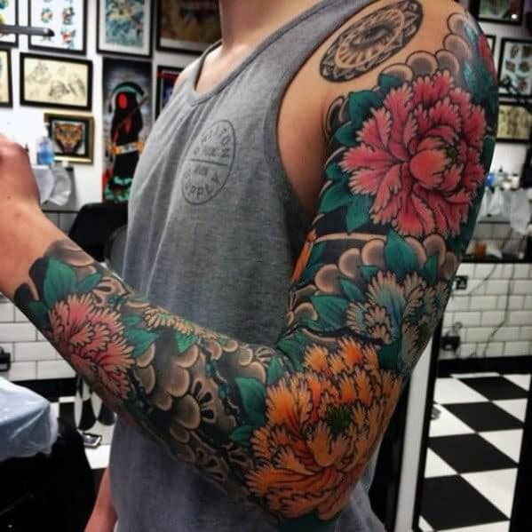 Mens Japanese Flower Themed Full Sleeve Tattoo Inspiration