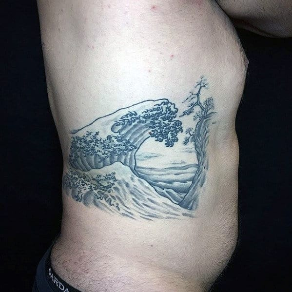 Mens Japanese Great Wave Rib Cage Side Tattoo