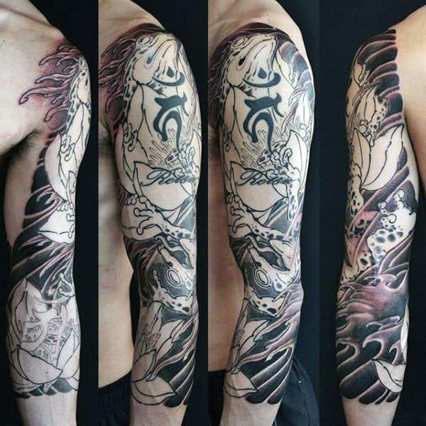 Mens Japanese Half Sleeve Frog Tattoo Designs