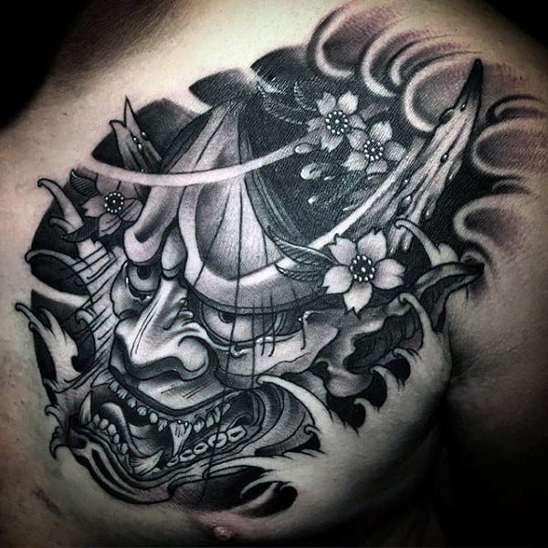 Mens Japanese Hannya Mask Upper Chest Tattoo With Water Waves