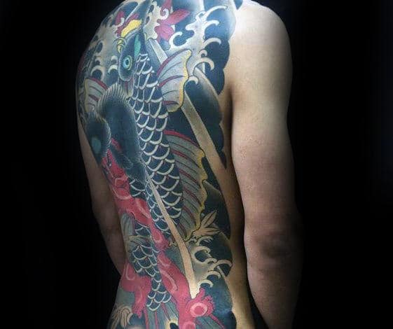 Mens Japanese Koi Fish Water Full Back Tattoo Design Inspiration