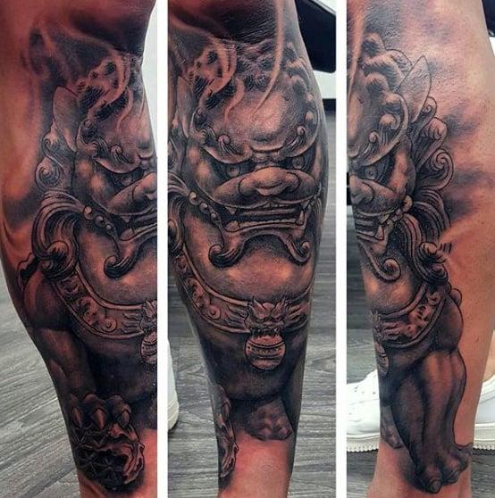 Mens Japanese Lion Foo God Shin Tattoo Designs
