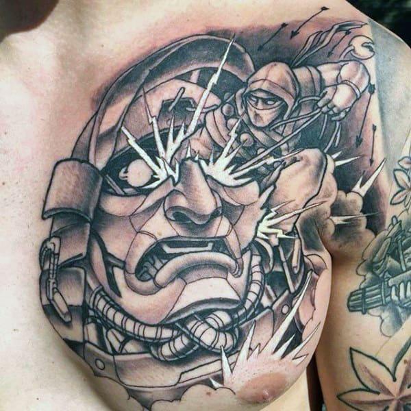 Mens Japanese Ninja Chest Tattoos