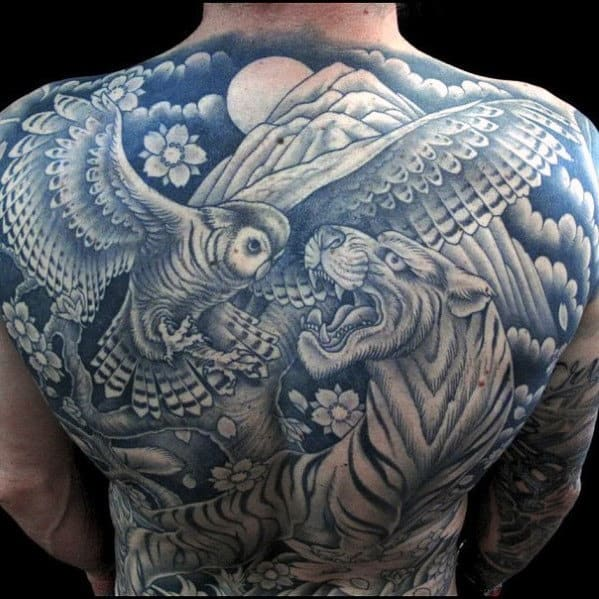 Mens Japanese Owl With Tiger Back Tattoo Designs