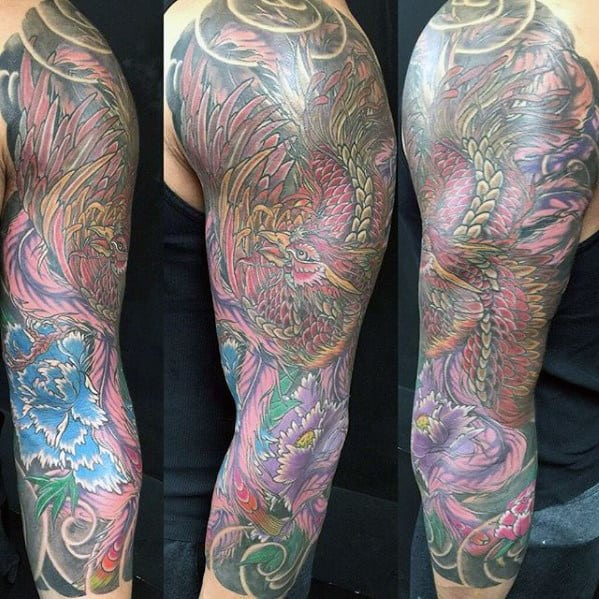 Mens Japanese Phoenix Half Sleeve Tattoo Ideas