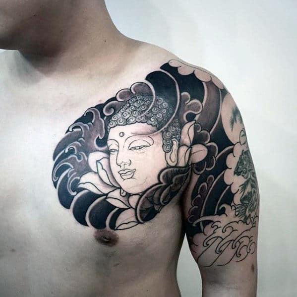 Mens Japanese Religious Half Sleeve Tattoos
