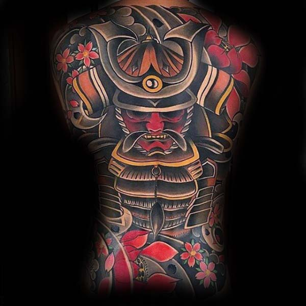 Mens Japanese Samuari Extreme Full Back Tattoo
