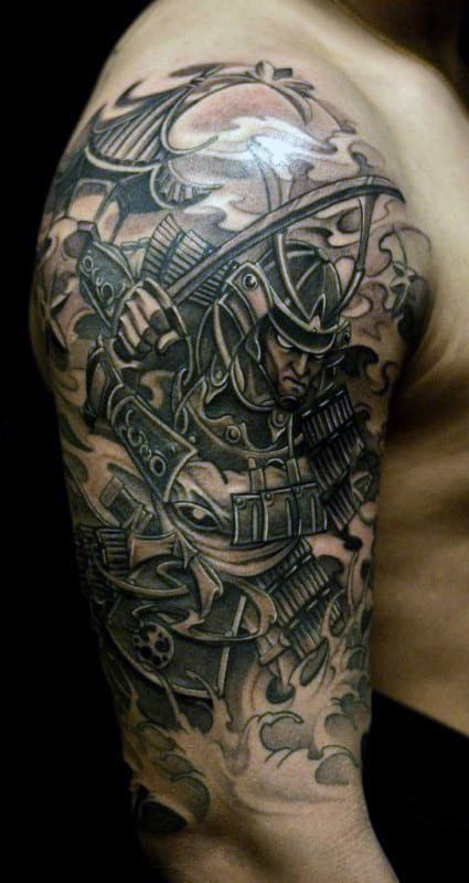 Men's Japanese Samurai Mask Tattoo Half Sleeve