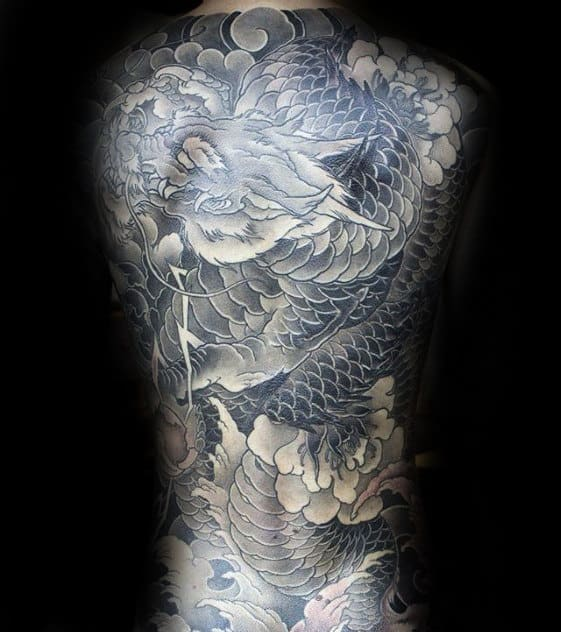 Mens Japanese Shaded Black And Grey Large Dragon Full Back Tattoo