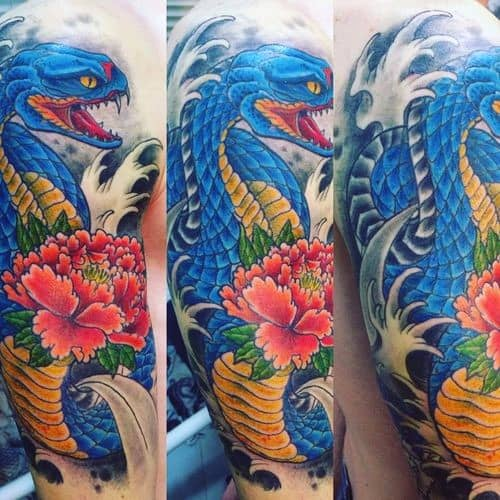 Mens Japanese Snake Tattoo Design Inspiration Half Sleeve