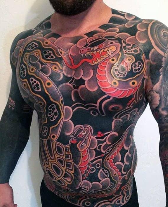 mens-japanese-snakes-full-chest-tattoo
