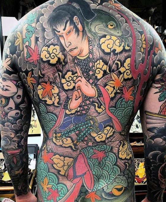 Mens Japanese Themed Full Back Tattoo Designs