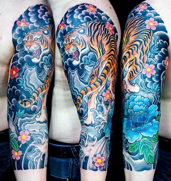 Mens Japanese Tiger Half Sleeve Tattoo Ideas