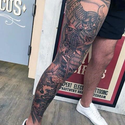 Mens Japanese Warrior Leg Sleeve Thigh Tattoos