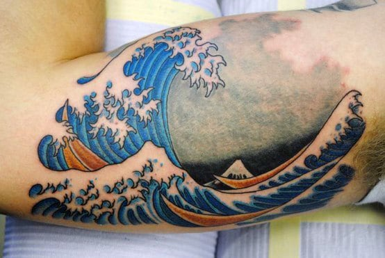 Men's Japanese Waves Bicep Tattoos