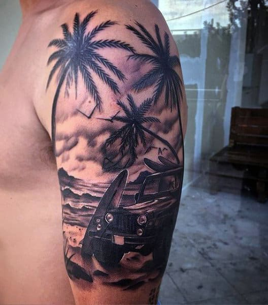 Mens Jeep Beach Tattoo On Upper Arm With Palm Trees