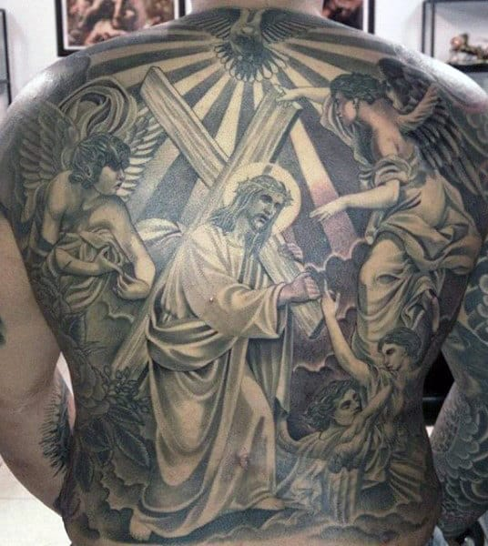 Mens Jesus Bearing Cross Full Back Tattoo With Flying Angels
