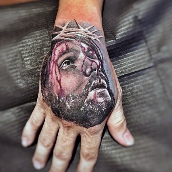 Mens Jesus Crown Of Thorns Catholic Tattoo On Hand