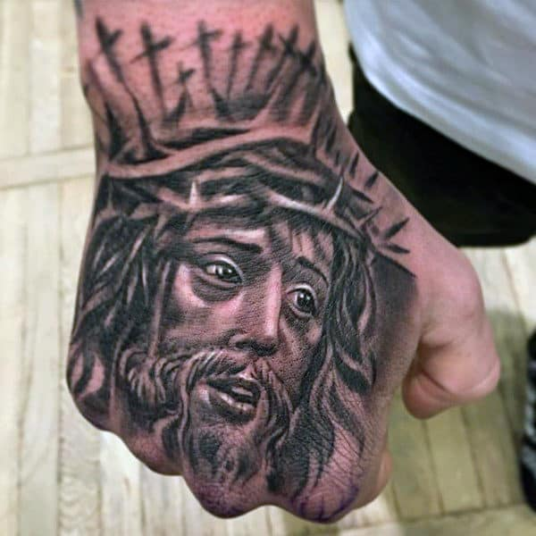 Mens Jesus Hand Tattoo With Crosses